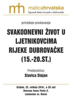 """""""Svakodnevni život u ljetnikovcima Rijeke dubrovačke (15.-20-st.)"""""""