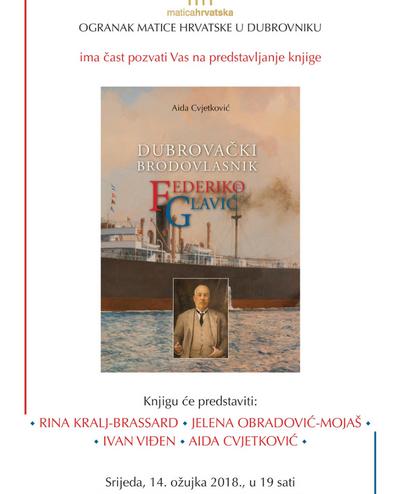 """Promocija knjige """"Dubrovački brodovlasnik Federiko Glavić"""" Aide Cvjetković"""