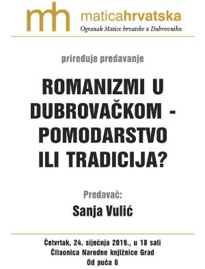 Romanizmi u dubrovačkom – pomodarstvo ili tradicija?