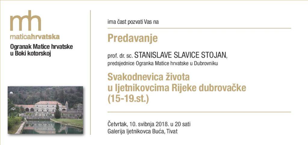 Predsjednica Ogranka MH u Dubrovniku Slavica Stojan će u Tivtu