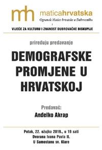 """Predavanje """"Demografske promjene u Hrvatskoj"""" prof. dr.sc. Anđelka Akrapa"""