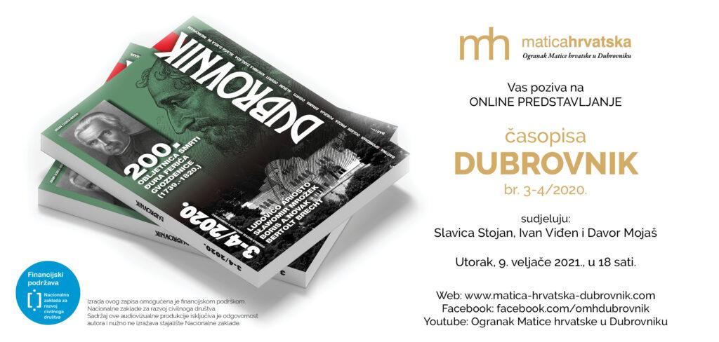 Predstavljanje časopisa Dubrovnik 3-4/2020