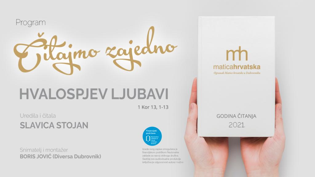 Čitajmo zajedno (I.): Hvalospjev ljubavi (1 Kor 13, 1-13), Slavica Stojan