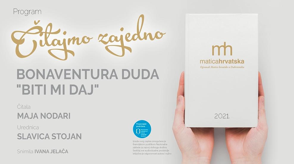 """Čitajmo zajedno (IV.): """"Biti mi daj!"""", čita Maja Nodari"""